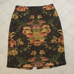 CAbi Chinoiserie Jacquard Embroidered Pencil Skirt